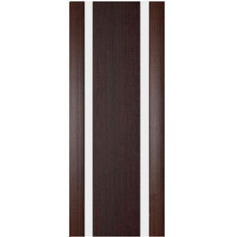 Межкомнатная дверь МДФ Экошпон Ладора Модель 3/2 белый триплекс Африканский орех