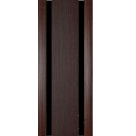 Межкомнатная дверь МДФ Экошпон Ладора Модель 3/2 черный триплекс Африканский орех