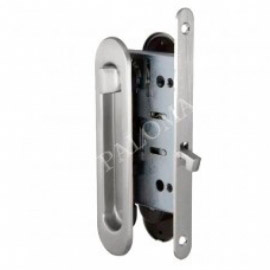 Комплект ручек для раздвижных дверей с замком RENZ SDH-BK 401 SN Никель матовый