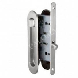 Комплект ручек для раздвижных дверей с замком RENZ SDH-BK 501 SN Никель матовый