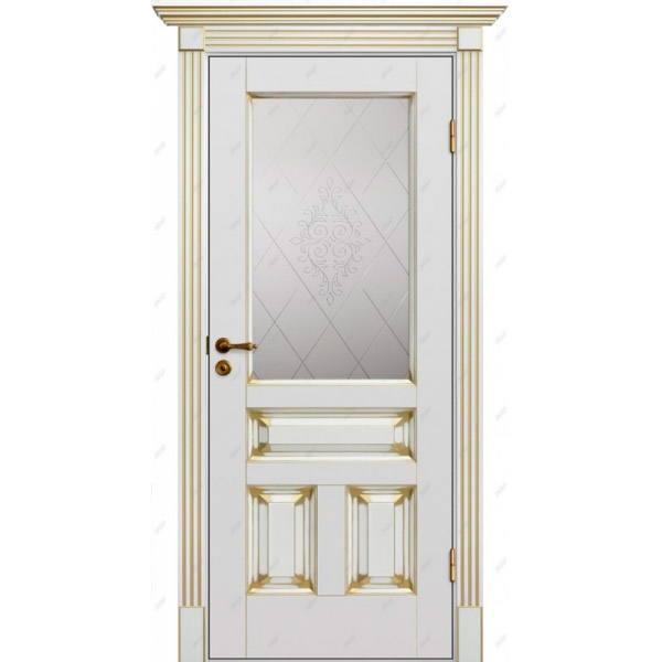 Межкомнатная дверь Авалон 16 (витраж Версаль) патина