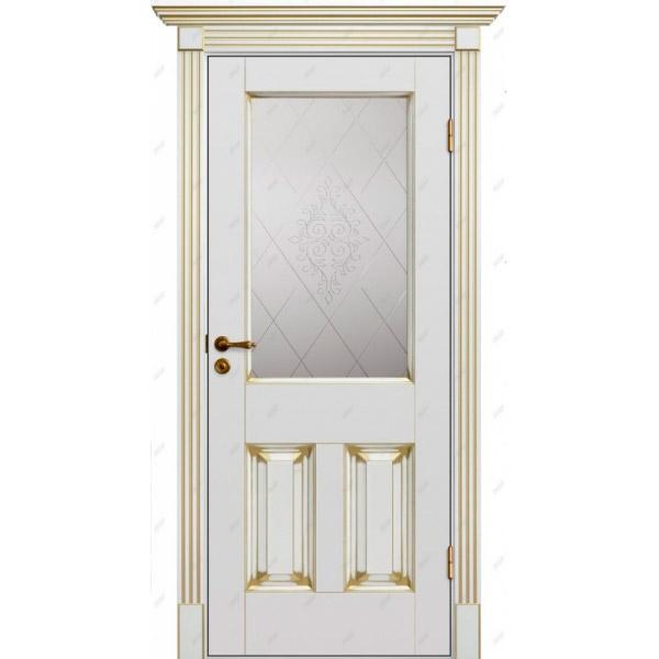Межкомнатная дверь Авалон 20 (витраж Версаль) патина