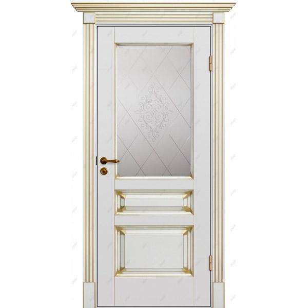 Межкомнатная дверь Авалон 8 (витраж Версаль) патина