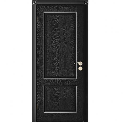 Межкомнатная дверь шпонированная Шервуд 3 ДГ, Эмаль чёрная