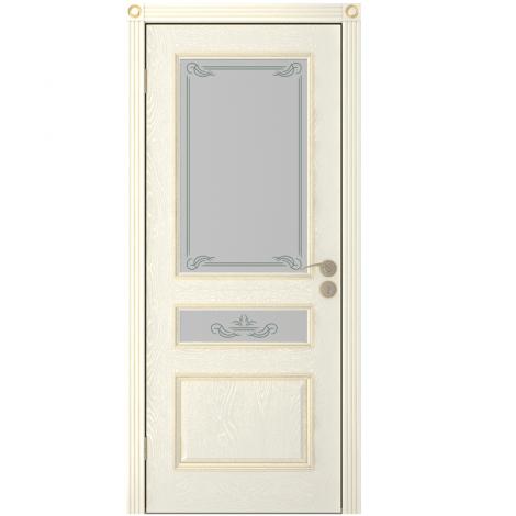 Межкомнатная дверь шпонированная Вена ДО, Эмаль кремовая